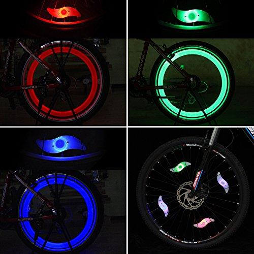 Tagvo Fahrrad Speichenlicht x 4(Rot + Grün + Blau + Bunt) 3 Blinkmodi Fahrradlicht für Fahrrad Kinderfahrrad Wasserdicht Einfach Montage (Bunte Fahrrad-lichter)