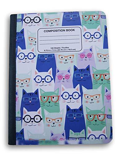 Notizbuch, Motiv Katzen in Brille, breit, liniert, 100 Blatt