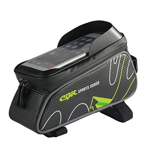 Satteltasche, Fahrrad Top Tube Bag Rennrad Handytasche Radfahren Lagerung verfügbar Wasserdichter Smartphone-Halter 6.0 Zoll einfache Montage ( Color : Green )