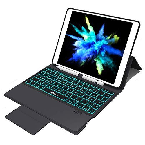 EC Technology Tastatur Hülle Kompatibel mit iPad 2018 / iPad Air 2 / iPad 2017 / iPad Air 1 & ipad pro 9.7, QWERTZ Layout 7 Farbe Backlight Bluetooth 4.0 Keyboard case mit Bleistifthalter & Ständer - Air Ipad Für 2 Portable Tastatur