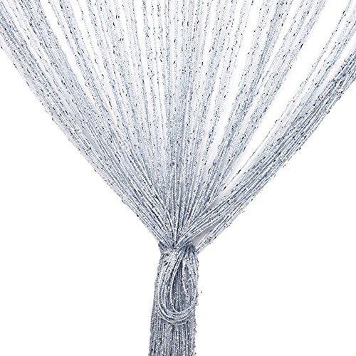 TRIXES Pannello Tenda a Striscioline Argentate - 90 x 200 cm - Effetto Cascata di Rugiada - Tenda a Fili Argentati - Divisorio Porta e Pannello Tenda per Finestra - Perfetto Come Schermo Mosca