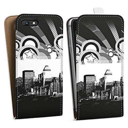 Apple iPhone X Silikon Hülle Case Schutzhülle Stadt Sterne City Downflip Tasche weiß