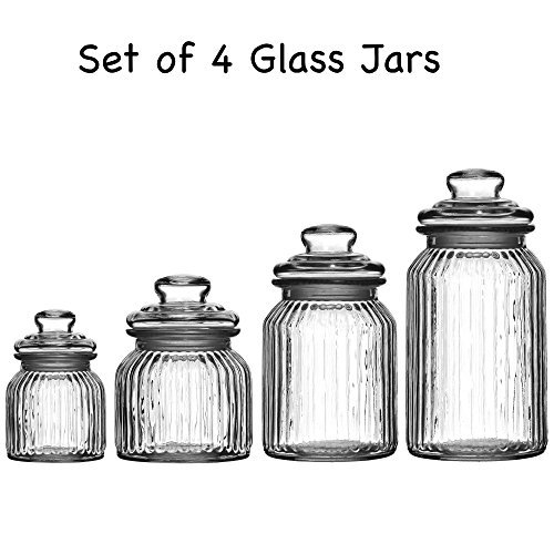 Set Of 4 Ribbed Glass Jars Kitchen Storage Jars Tea Coffee Sugar Canisters Jars By Prime Homewares