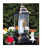♥ GRABLAMPE Ornament Rose Bronze 34,0cm GRABKERZE Grablicht GRABLATERNE GRABSCHMUCK GRABLEUCHTE Laterne Lampe Kerze LICHT GRABDEKORATION