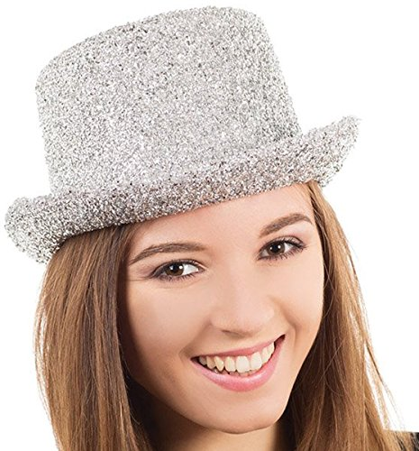 Erwachsene Fancy Dress Party Disco Clubwear Accessory Unisex Celebrity Lametta Top Hat (Celebrity Fancy Dress Kostüm)