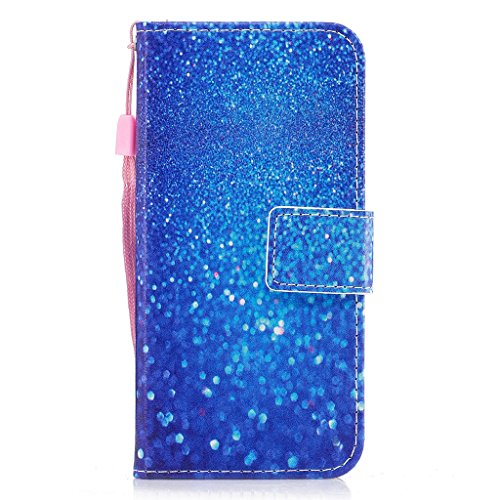 iPhone 6 Hülle,Fodlon® Mode Gemalt Karte Schlitze mit Schlüsselband Telefon Schutzhülle -Weiße Katze Blauer Sand