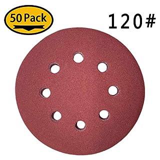 Maveek 50 Pieces 8 Holes Sanding Discs 120 Grit 5 Inch Hook and Loop Sandpaper Assortment for Random Orbital Sander