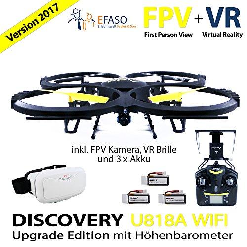 Preisvergleich Produktbild UDI U818A Drohne 2 MP WiFi FPV Kamera 2,4 GHz Quadrocopter Version 2017 mit Höhehaltemodus Altitude Hold, Rückholmodus Headless Mode, VR 3D Brille, Akkustandswarnung, Flugroutenplanung und One-Key-To-Start Funktion inkl. 3 Akkus