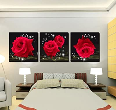 Mon Kunst Love Of Red Roses Modern Decorative Wall Canvas Print Set Of 3 produced by Mon Kunst - quick delivery from UK.