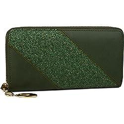 styleBREAKER monedero con rayas de lentejuelas brillantes, cremallera circular, cartera, señora 02040089, color:Verde oscuro