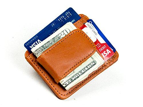 Goson Slim Geldbörse Leder Geldklammer Geldbörse für Herren - Vordertasche Geldbörse, Kreditkarten-Halter, schmale minimalistische Geldbörse - Braun - - Clip Magnet Geld Card Holder
