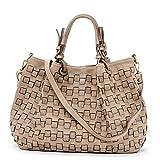 Ira del Valle, bolso de mujer, confeccionado en auténtica piel tejida vintage, Made in Italy, modelo Caraibica Bag, bolso grande y bandolera con correa para el hombro para mujer, Color Mostaza
