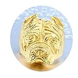 Bishilin Schmuck Titan Herren Ring Titanring Hund Bulldogge Freundschaftsring Gold Ring Größe 57 (18.1)