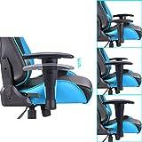 IMWH Racing Hochwertiger Bürostuhl Gaming Stuhl,Ergonomischer höhenverstellbar Schreibtischstuhl Chefsessel Computerstuhl Drehstuhl mit einstellbaren Armlehnen, Kunstleder PU Sportsitz Racing Game Chair (Blau) - 5