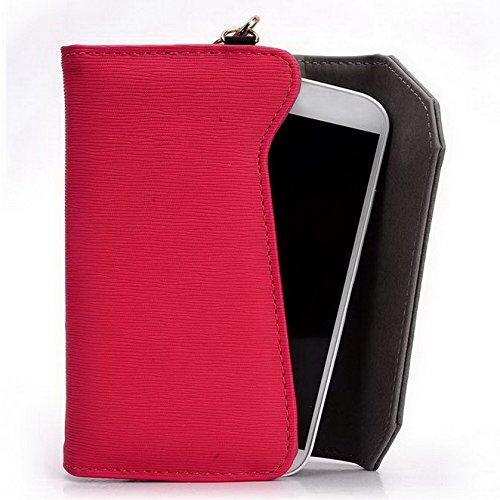 Kroo Pochette Portefeuille Lien Serie Convient pour Huawei Honor 7/Ascend G610 Multicolore - Black and Magenta Multicolore - Magenta and Grey