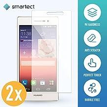 2x Protector de Pantalla de Cristal Templado para Huawei Ascend P7 de smartect® | Lámina Protectora Ultrafina de 0,3mm | Vidrio Robusto con Dureza 9H y Antihuellas Dactilares