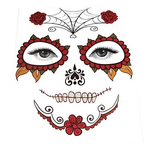 FEIDAjdzf Halloween Face Temporary Fake Tattoo Sticker Masquerade Body Art Decals Prop 1#