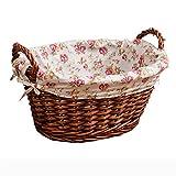 XTXWEN Handgefertigte Rattan Körbe Weiden Schlafzimmer Wäschekörbe Wäsche Tumbler Toys Home Groceries Baskets Large, B