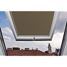 Store pour fenêtre de toit Velux GGU / GGL / GPU / GPL / GHU / GHL / GTU / GTL / GXU / GXL M04 Marron clair - 78x98 cm (largeur x longueur) - équipé de rails de guidage latéraux en aluminium