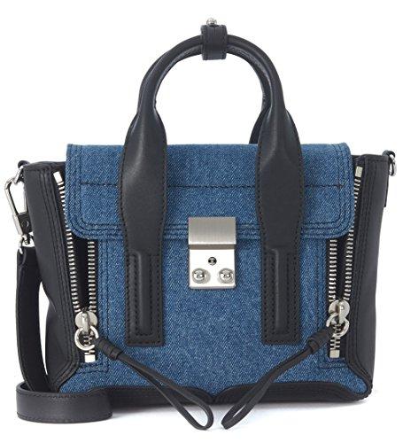 sac-a-main-31-phillip-lim-pashli-mini-satchel-en-peau-prisee-lisse-noire-et-bleu-denim