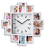 levandeo Fotouhr 40x40cm Wanduhr für 12 Fotos - Kunststoff weiß - Fotogalerie Bilderrahmen Bildergalerie Fotocollage Fotorahmen Uhr Bilderuhr