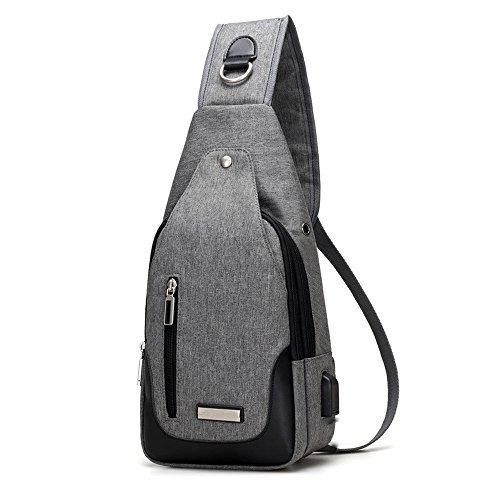 DOXUNGO Herren Damen Sling-Rucksack Oxford-Tuch Unisex Schultertasche für Freizeit Reisen Wandern Fahrradfahren Hellgrau