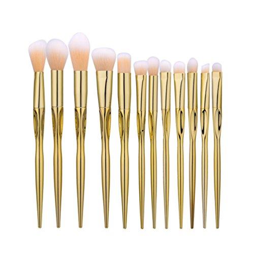 Fashion Base® 12 pcs Doré Lot de pinceaux de maquillage professionnel Tools-natural Cheveux synthétiques Kabuki Brush-beauty Cosmetics Brush-make-up Kit-face de toilette Poudre Contour Surligneur Fond de teint liquide Correcteur Fard à paupières Brosse à sourcils