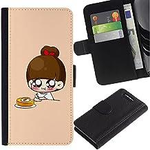Paccase / Billetera de Cuero Caso del tirón Titular de la tarjeta Carcasa Funda para - Cute Japanese Anime Breakfast - Sony Xperia Z1 Compact D5503