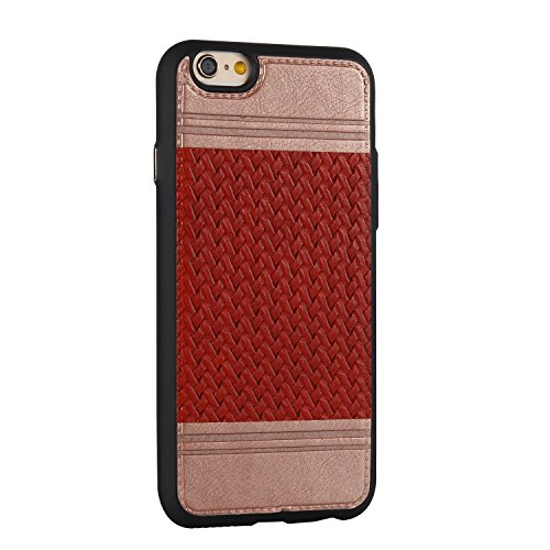 EKINHUI Case Cover Mischfarben Weaving Pattern PU Leder Skin Cover Shell Soft TPU / Silikon Rückseiten Cover Case für iPhone 6 & 6s ( Color : J ) B