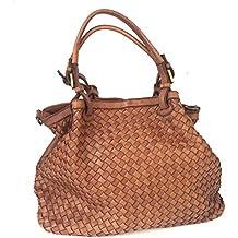4625e4d567797 Superflybags Damentasche Schultertasche Echtes Leder Vintage Geflochten  Gewaschenes Leder Modell Granada Made in Italy