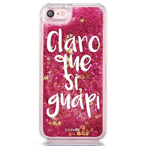 """Funda Rosa Agua """" Claro que si guapi """" Carcasa con estrellas purpurina fucsia brillante Tpu silicona con liquido interior para iPhone 6 6S Plus"""