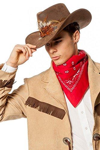 Brauner Cowboyhut mit Federn Luxusausführung Wildleder-Optik Herren Western (Hut Und Cowboy Federn)