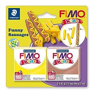 STAEDTLER 8035 16. Pasta de modelar para niños Fimo Kids Funny Sausages. 2 Pastillas de 42 Gramos.
