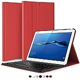 ELTD Huawei MediaPad M3 lite 10 QWERTZ Tastatur, Abnehmbar Kabellose Tastatur Schutzhülle mit Standfunction Für Huawei MediaPad M3 lite 10 Tablet, Rot