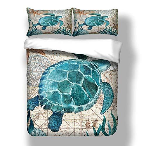 Wifehelper Juego Cama Tres Piezas 3D Turtle Ocean