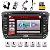8 GB Karte + FOIIOE Doppel-Din 7 Zoll Autoradio DVD GPS Navi CD Player 3G Bluetooth Touch Screen Head Unit für VW Passat T5 Golf MK5 Jetta mit kabelloser Fernbedienung