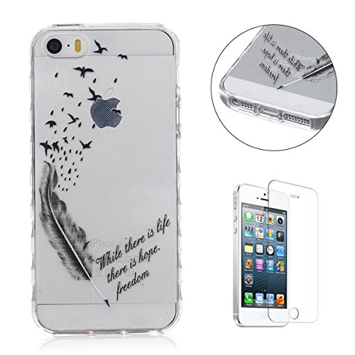 iPhone SE 5 5S Hülle,iPhone SE 5 5S Etui,CaseHome Birds And Feather Pen Where There Is Life There Is Hope Quote Entwurf Weiche TPU Ränder SchutzSchutzhülle mit Bändselloch Leichte kratzfeste stoßdämpfende Schutzhülle (Birds Of A Feather Iphone 5 Fall)