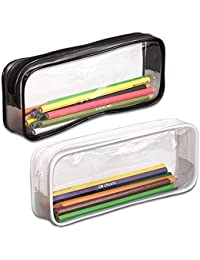 Uteruik - Estuche para bolígrafos, 2 Unidades, Gran Capacidad, Transparente, Bolsa de