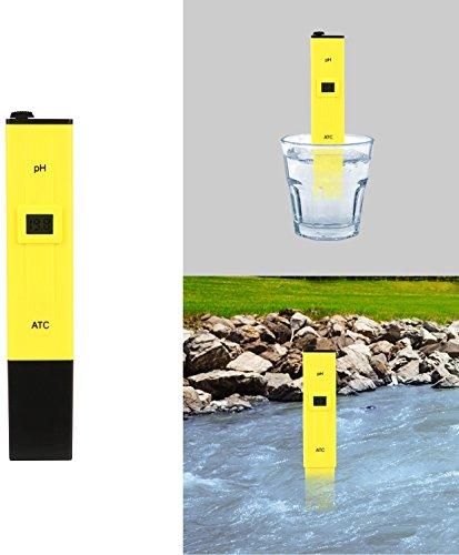 GPCT [Taschenformat] Digital Genaue PH Test Meter. 0–14pH-Messbereich, CE/RoHs certified. PH Stift-Tests [Qualität Tester] Haushalt Trinkwasser, Aquarium, Schwimmbad, Teiche, Hydrokultur soil- gelb