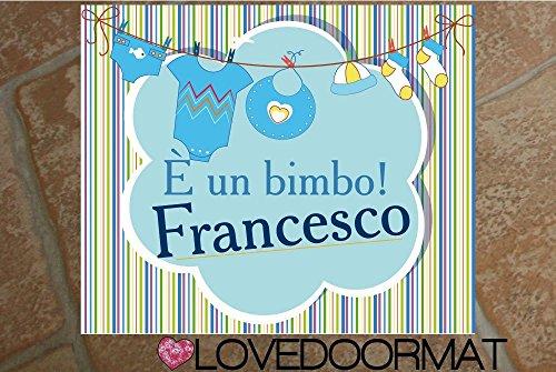 Tappeto personalizzabile fiocco azzurro neonato cm. 60x50 feltrogomma asciuga sporco lovedoormat ® handmade in italy