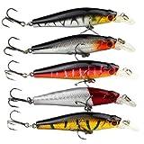 NiceButy acefast Inc 5pcs Pesca Bass Señuelos Anzuelos triples buceo señuelo Minnow cebo 8,8 g 8 cm