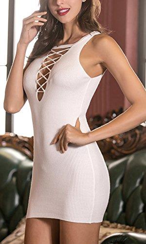 Damen Kleid Jerseykleider Festkleid Ballkleid Ärmelloses Rundhalsausschnitt Rückenausschnitt Schulterfrei Paket Hüfte Herbst Mit Schnürung Weiß