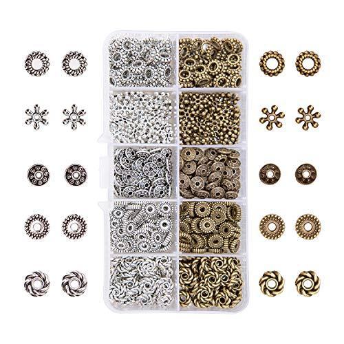 AIEX 500 Stücke 5 Stil Silber Bronze Spacer Perlen Schmuck perlen basteln DIY perlenengel für Armband Halskette Schmuckherstellung