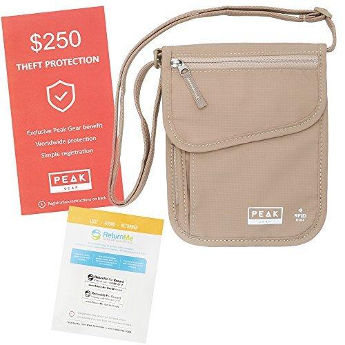 Peak RFID-Neck Wallet Getriebe - Diebstahl Versicherung und globale Lost & Found Service umfasst Beige