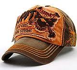 FengFa Herren Basecap Vintage Distressed Baseball Kappe Verstellbare Snapback Trucker Cap (Orange)