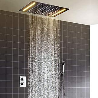 hm Set para la ducha,360x500mm LED multifuncional termostático Sistema de ducha,, modo lluvia, 304 de acero inoxidable, ducha de mano,Columna ducha,Conjunto de Ducha,Función anti escaldado
