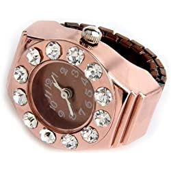 Gleader Rose Gold Round Metal Pocket Finger Ring Watch