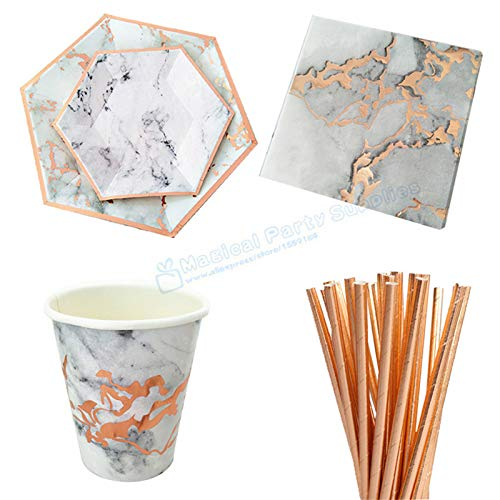 per Disposable Tableware Christmas Birthday Party Rose Gold Paper Plates Cups Straws Carnival Party Supplies,Set 2 With Straw ()