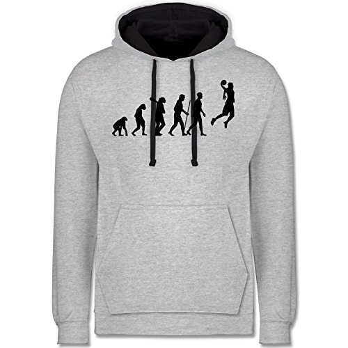 Shirtracer Evolution - Basketball Evolution - XXL - Grau meliert/Navy Blau - JH003 - Kontrast Hoodie