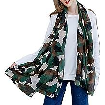iShine Femme Echarpe Long en Couleur Camouflage Casual Foulard Légère Châle  Elégant pour Printemps Automne Hiver b67e2fc67c0
